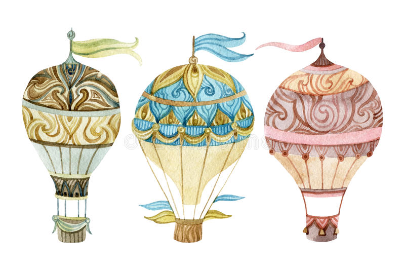 Aerostatuppsättning Uppsättning för ballong för varm luft för vattenfärg vektor illustrationer