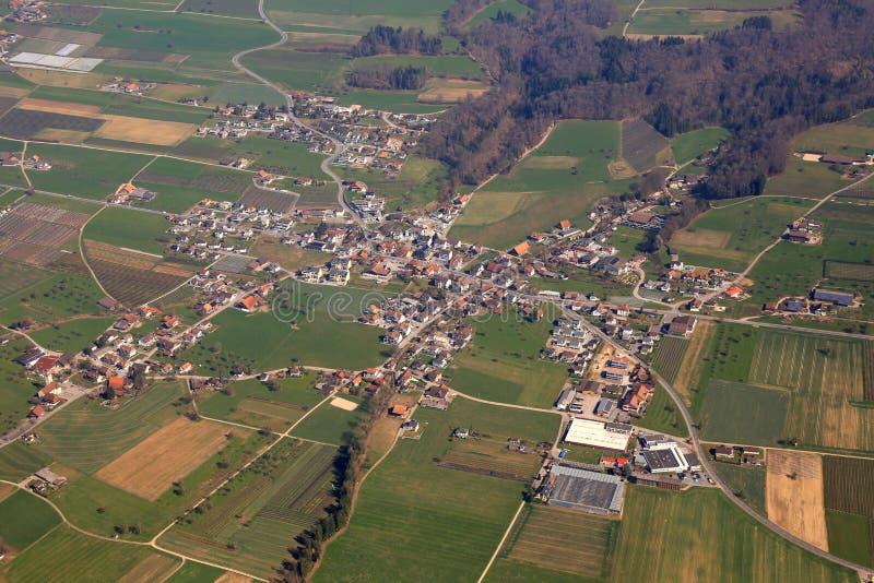 Aesch kantonu lucerny Luzern Szwajcaria widok z lotu ptaka fotografia obraz stock