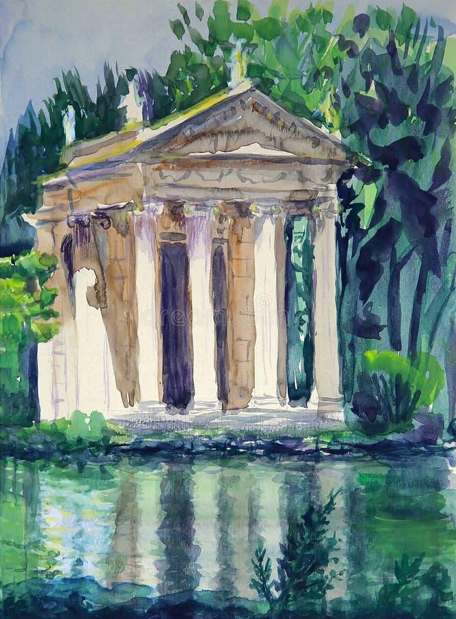 Aesculapius寺庙水彩别墅位于博尔盖塞的庭院在罗马,意大利 库存例证