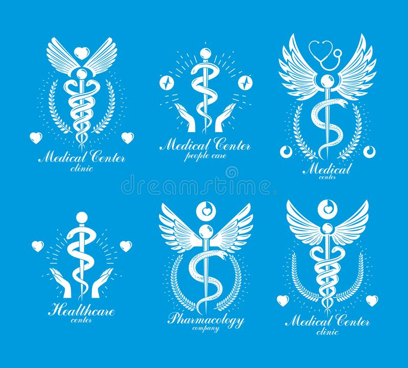 Aesculapius Greek vector abstract logotypes composed with wings, heart shapes, ecg charts and laurel wreaths. Medical symbols for. Use in pharmacology business vector illustration