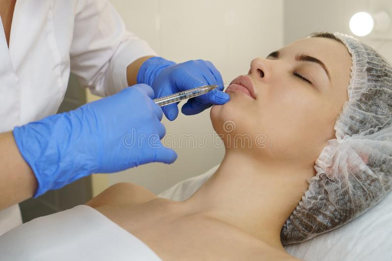 Aesthetic cosmetology. Face lift royalty free stock photo