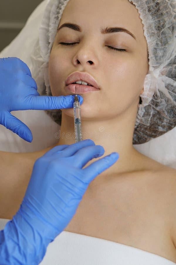Aesthetic cosmetology. Face lift stock photo