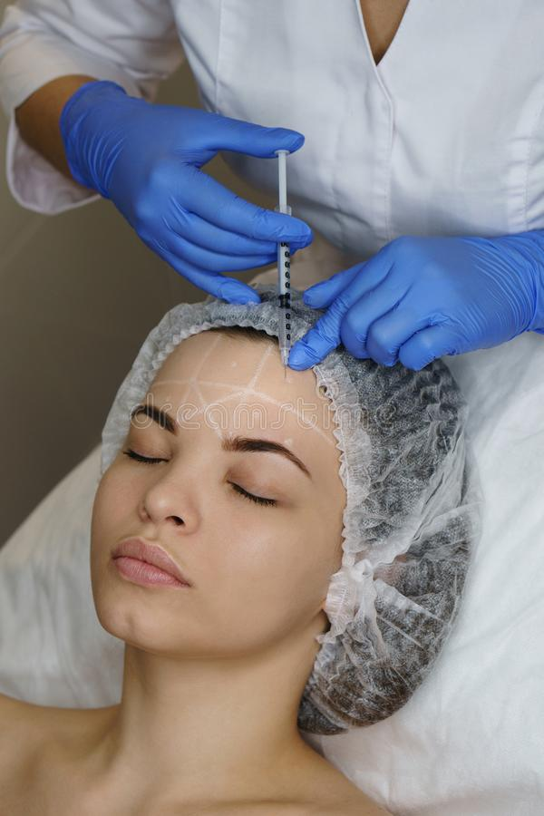Aesthetic cosmetology. Face lift royalty free stock photos