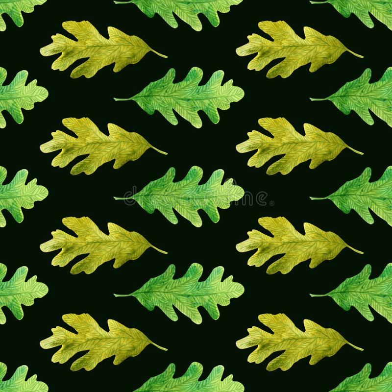 Watercolor laconic oak leaves seamless pattern on black vector illustration