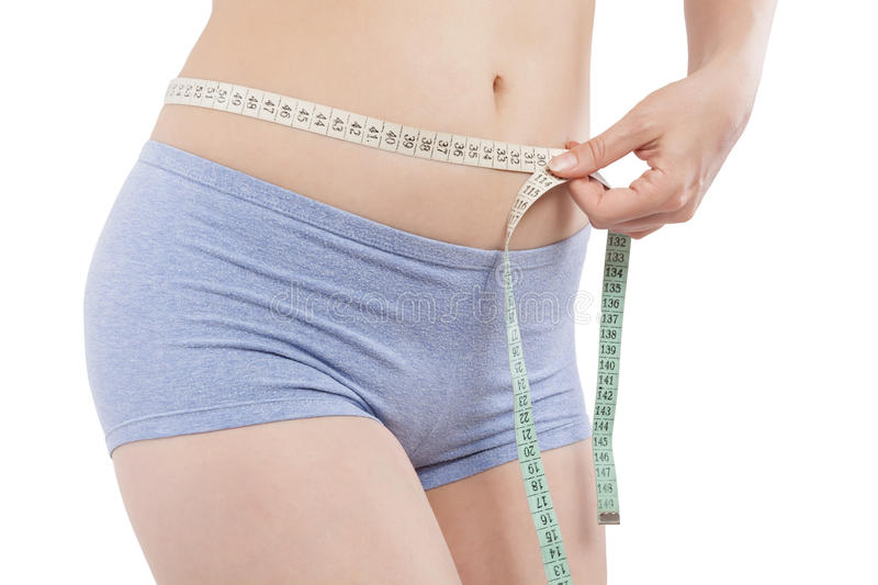 Aesthetic medicine. Aesthetic medicine, plastic surgery. young woman measuring her size with tape measure. Diet and weight loss stock image