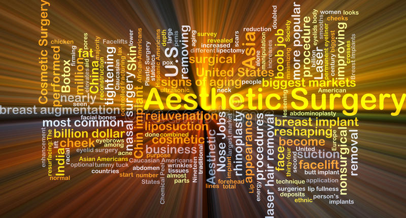 Aesthetic surgery background concept glowing. Background concept wordcloud illustration of aesthetic surgery glowing light royalty free illustration
