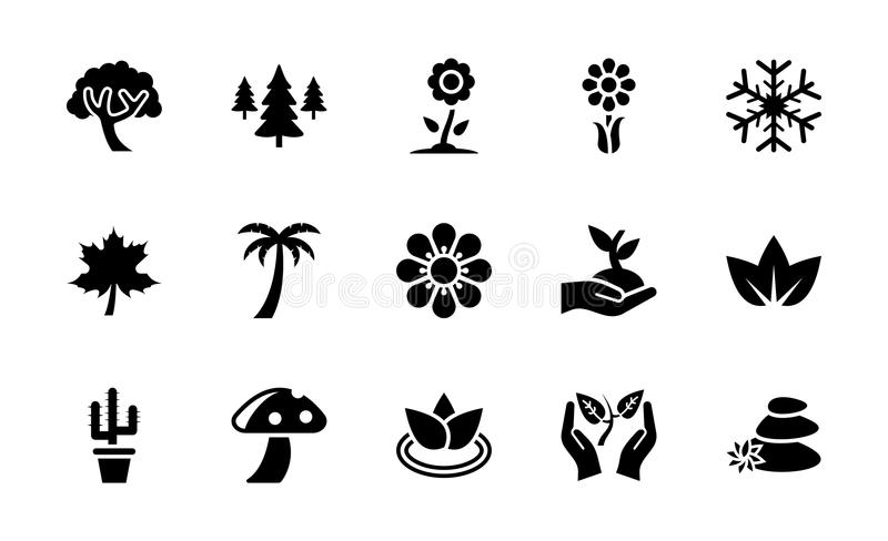 Nature Glyph Icons Collection. An aesthetically designed pack can be used in plantation industry as well as on nature savings businesses and so on vector illustration