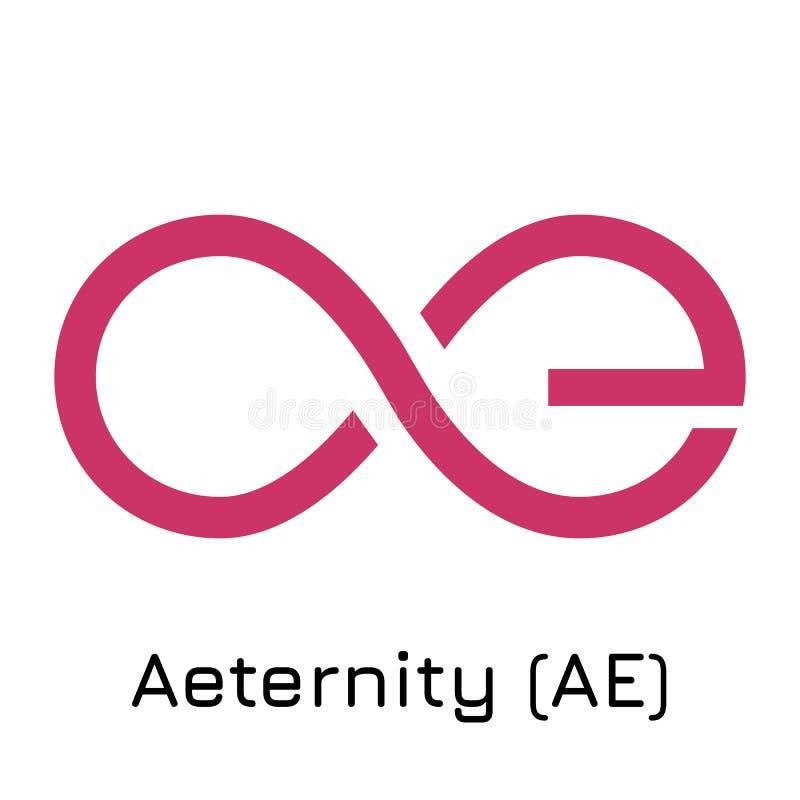 Aeternity AE Crypto mynt I för vektorillustration royaltyfri illustrationer