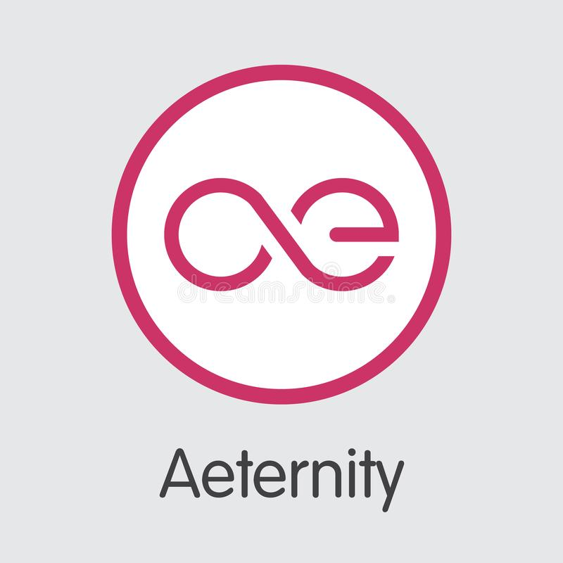 Aeternity AE - Cryptographic Currency Graphic Symbol. Digital Coin Icon. royalty free illustration