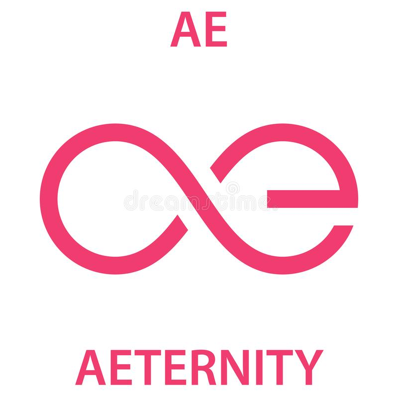 Aeternity Coin cryptocurrency blockchain icon. Virtual electronic, internet money cryptocoin symbol, logo vector illustration