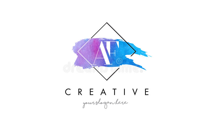 AF Artistic Watercolor Letter Brush Logo. stock illustration