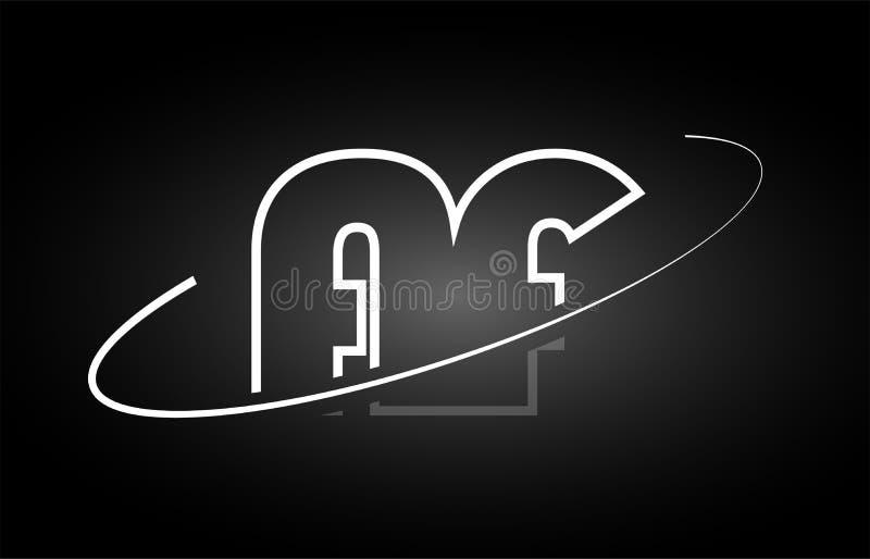 Download AF A F Letter Alphabet Logo Black White Icon Design Stock Vector