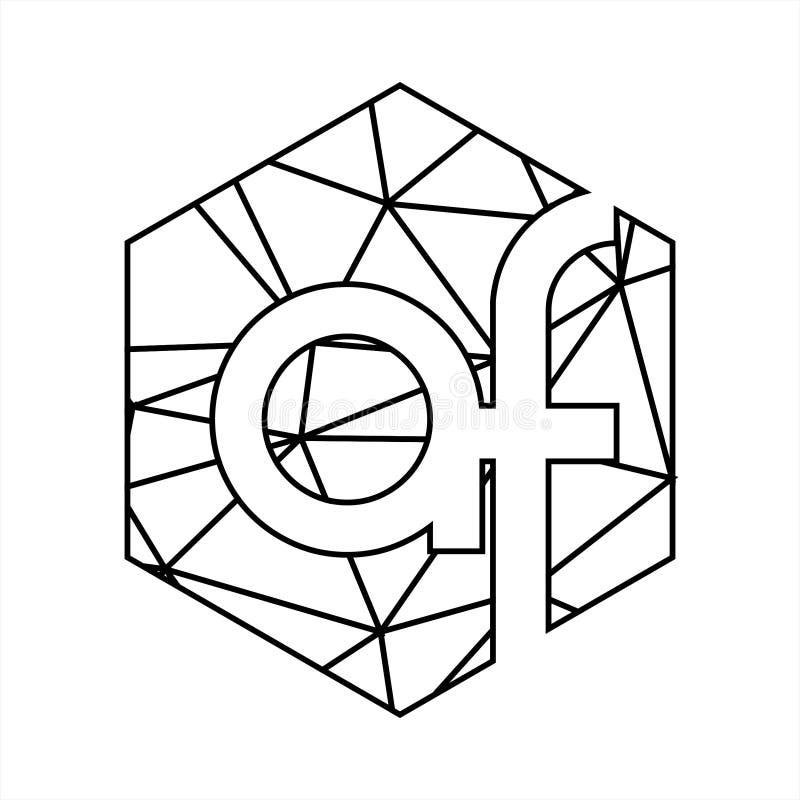 Af märker med sina initialer den geometriska linjen konstlogo för triangeln vektor illustrationer