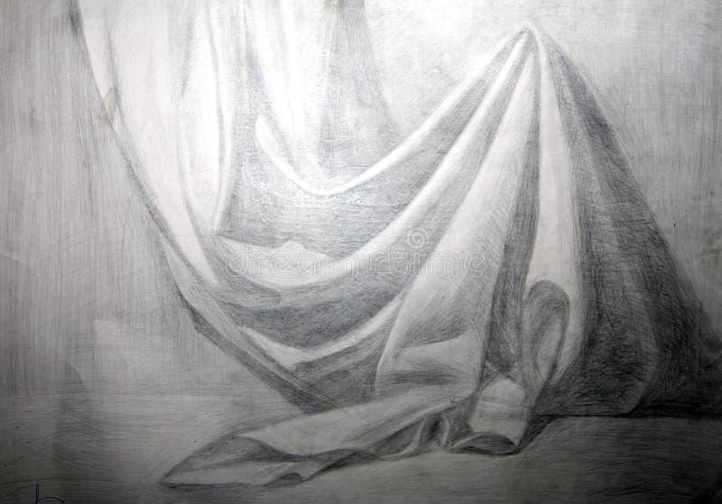 aFabric académico desenhando um drapery ilustração do vetor