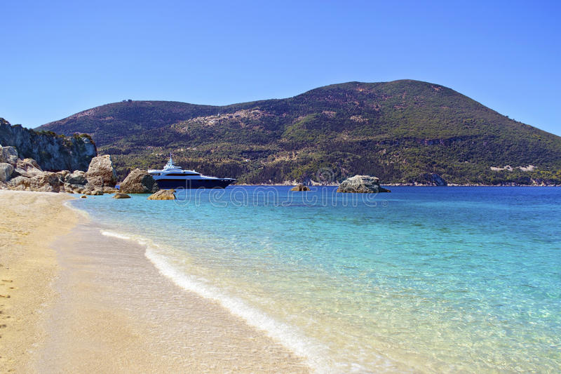 Afales Bay in Ithaca island. Greece royalty free stock photography
