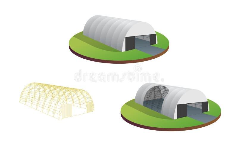Afbaardende van de het pakhuistentoonstelling van de geteerd zeildoektent tijdelijke van de de tunnelzaal de vliegtuigenhangaar S vector illustratie