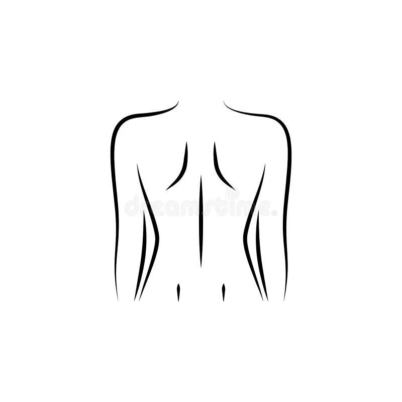 afbeelding, vrouwelijk, kolom, met de ruggengraat getekend pictogram stock illustratie