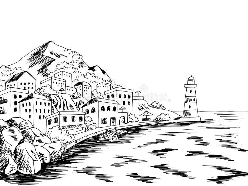 Afbeeldingsvector van de schets van de schets van het landschap van de stad, grafisch zwarte witte baai royalty-vrije illustratie