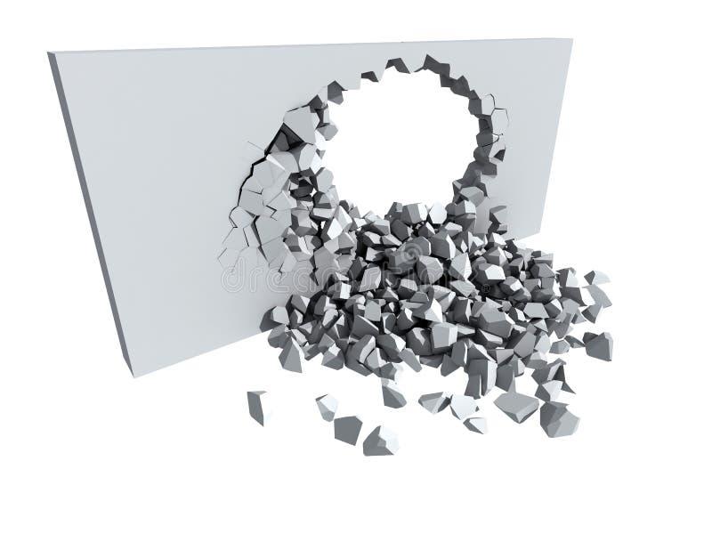 Afbrokkelende concrete muur met gat royalty-vrije illustratie