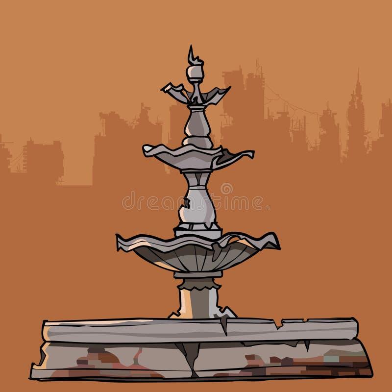Afbrokkelende oude fontein met vier kommen vector illustratie