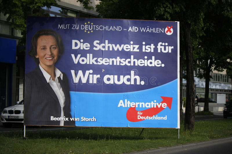 AFD. APRIL 2014 - BERLIN: a poster of the conservative anti european party Alternative fuer Deutschland to the upcoming european elections with a portrait of one stock image
