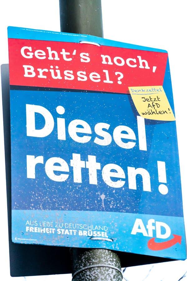 AFD-politisk kampanjaffisch fotografering för bildbyråer