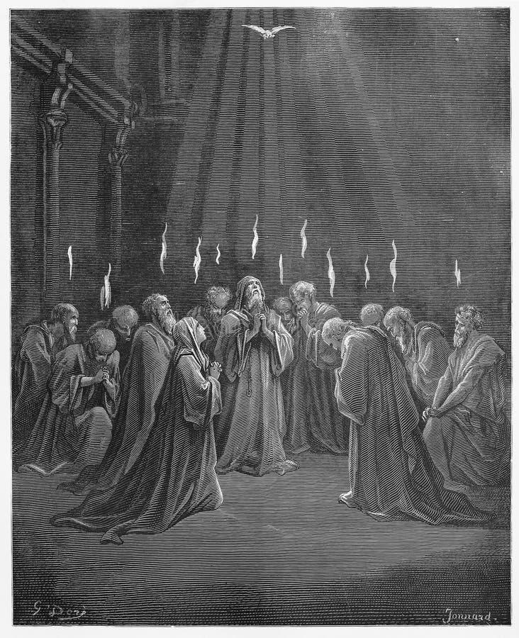 Afdaling van de Heilige Geest stock illustratie