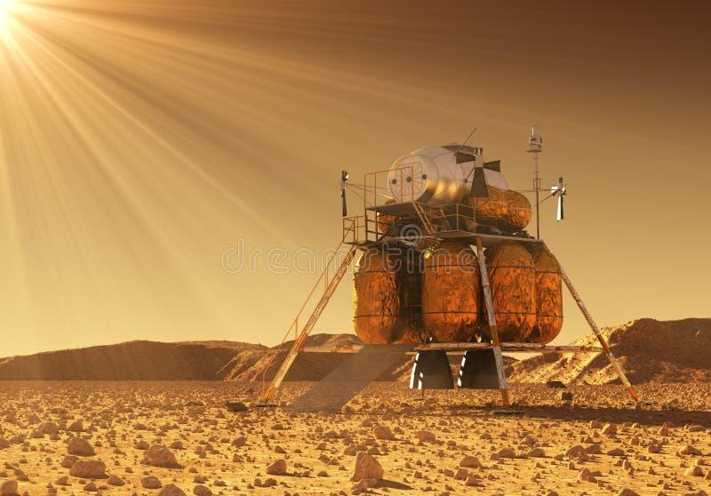 Afdalingsmodule van Interplanetair Ruimtestation in de Stralen van Martian Sun royalty-vrije illustratie