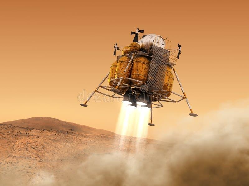 Afdalingsmodule van Interplanetair Ruimtestation die op Planeet Mars landen vector illustratie