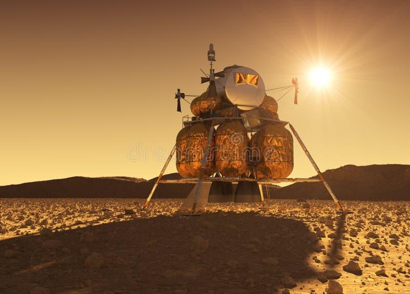 Afdalingsmodule van Interplanetair Ruimtestation op de Achtergrond van Martian Sun vector illustratie