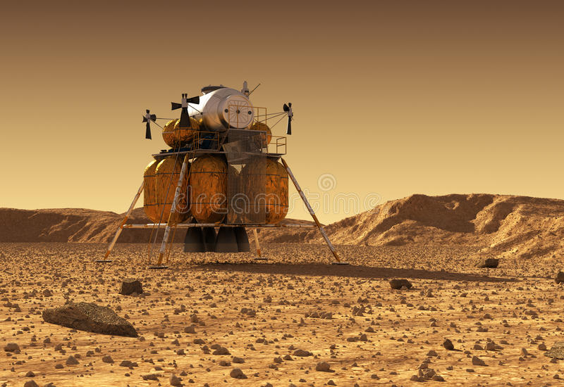 Afdalingsmodule van Interplanetair Ruimtestation op Oppervlakte van Planeet Mars royalty-vrije illustratie