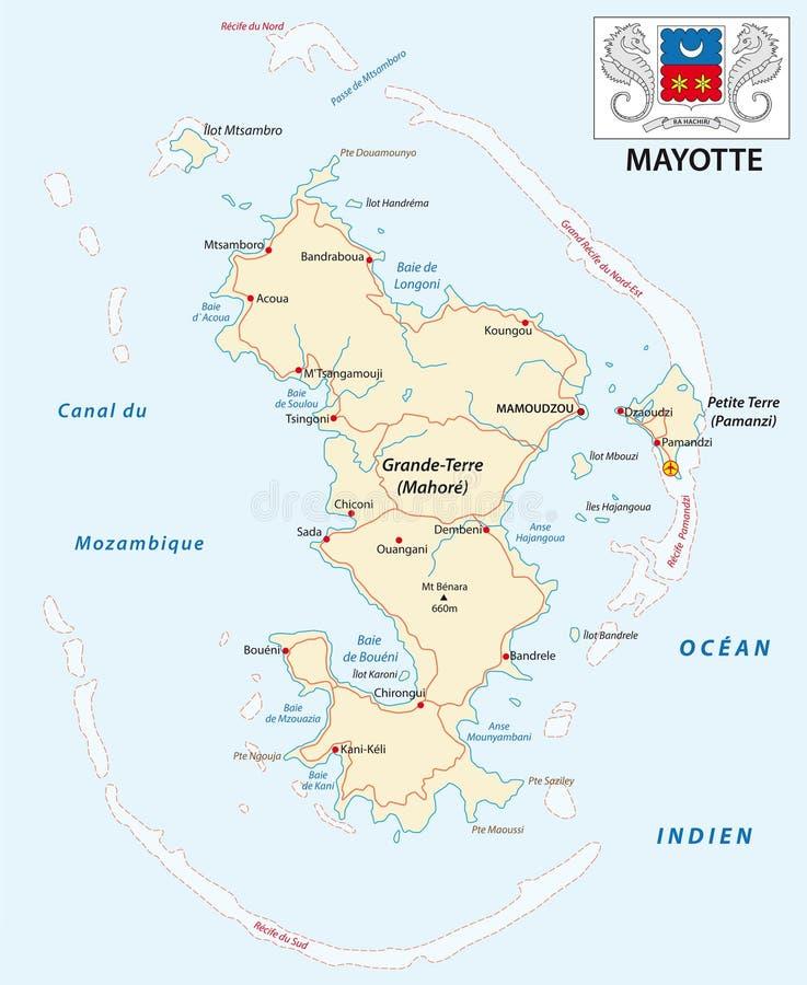 Afdeling van de weg vectorkaart van Mayotte met wapenschild royalty-vrije illustratie