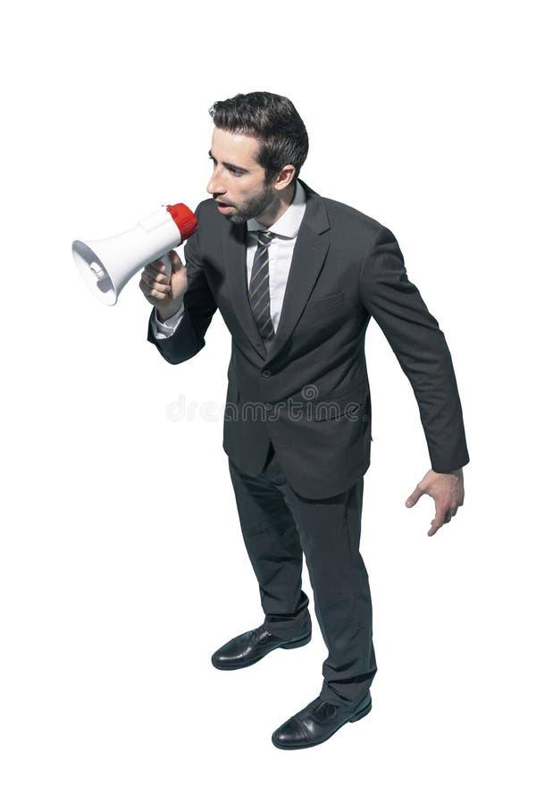 Afdelingschef die met een megafoon schreeuwen stock foto's