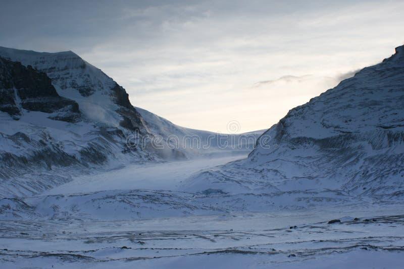 Afdrijvende Sneeuw in Colombia Icefield bij Schemer royalty-vrije stock foto's