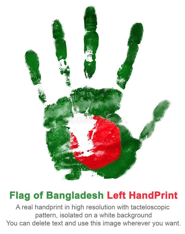 Afdruk van de linkerhand in de kleuren van de nationale vlag van groen en rood Bangladesh - royalty-vrije illustratie