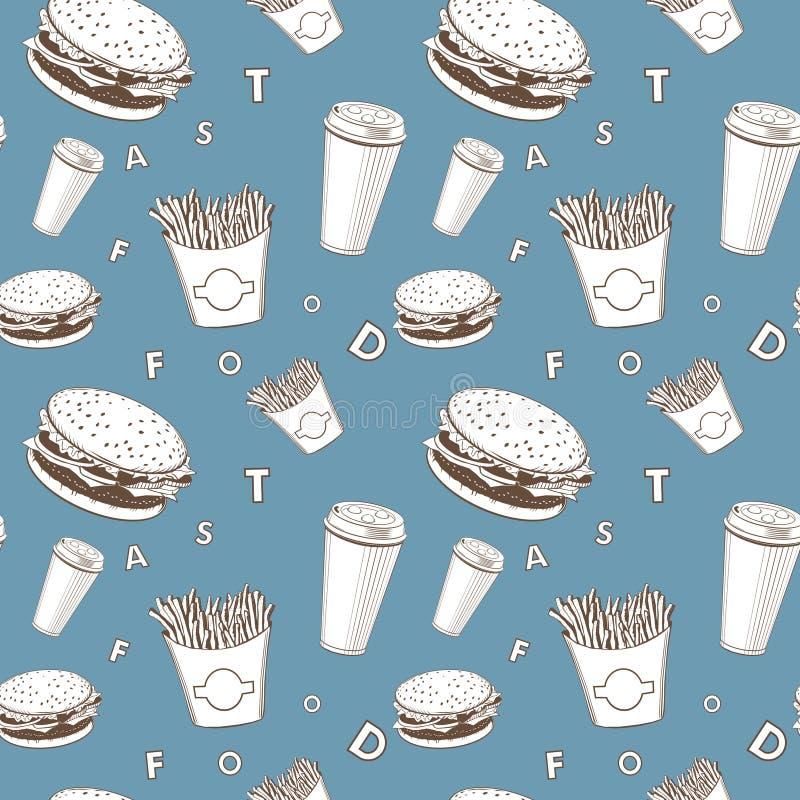 Afe食物传染媒介设置了白色和蓝色和黑快餐组合图案样式 皇族释放例证