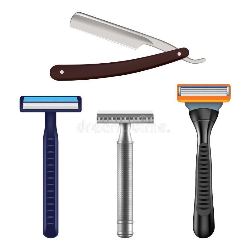 Afeitando el sistema de la maqueta de la maquinilla de afeitar, vector el ejemplo realista libre illustration