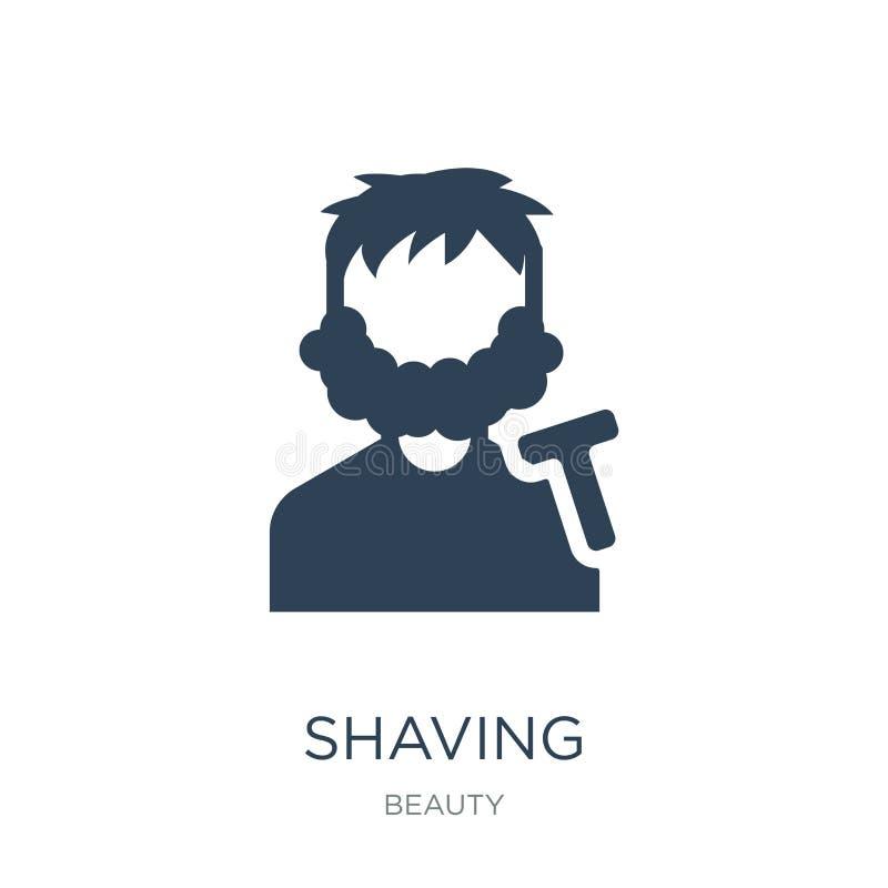 afeitar el icono en estilo de moda del diseño Afeitando el icono aislado en el fondo blanco afeitando símbolo plano simple y mode stock de ilustración