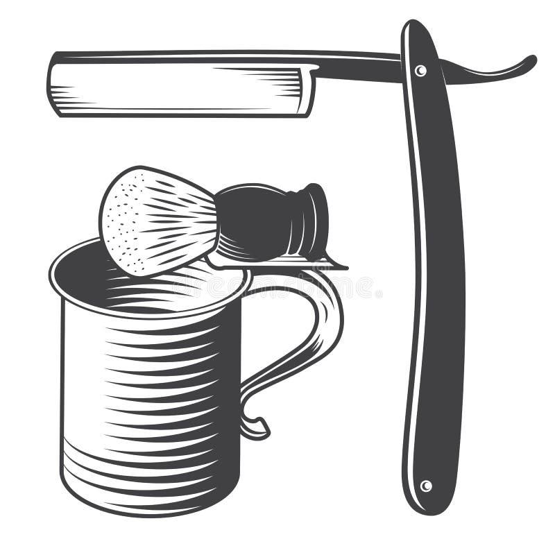 Afeitar la taza, el cepillo y la maquinilla de afeitar stock de ilustración