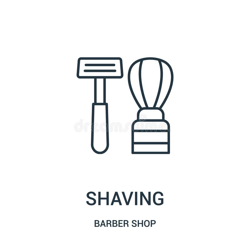 afeitar vector del icono de la colección de la peluquería de caballeros Línea fina que afeita el ejemplo del vector del icono del ilustración del vector