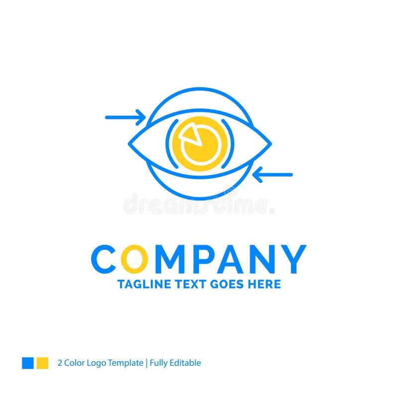 Affär öga, marknadsföring, vision, blå gul affärslogo för plan royaltyfri illustrationer