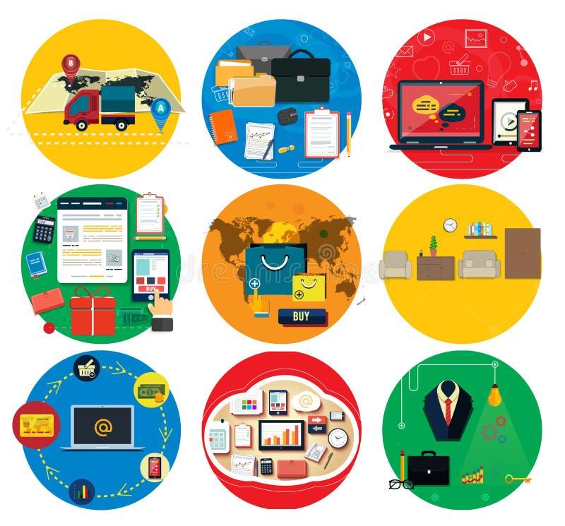 Affär direktanslutet, socialt massmedia, leveransbegrepp vektor illustrationer
