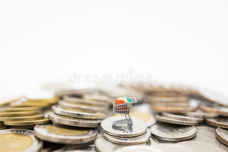 Affär, E-kommers och online-betalningbegrepp Stäng sig upp av det miniatyr/trolley för den shoppa vagnen diagramet på bunt av myn arkivbilder
