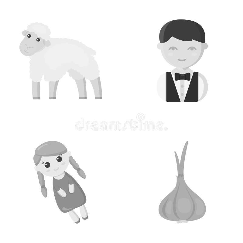 Affär, ekologi, yrke och annan rengöringsduksymbol i monokrom stil sidor grönsak, smaktillsats, symboler i uppsättning stock illustrationer