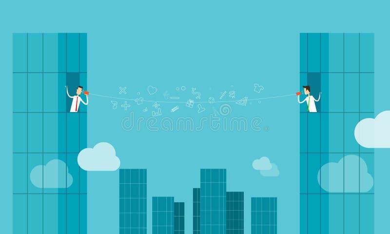 Affär för anslutning för vektoraffärsmanonline-communicatiion stock illustrationer