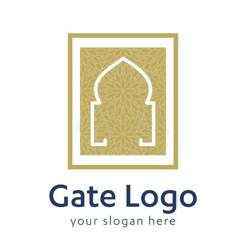 Affär för dörröppning eller för fastighet för hus för svart för symbol för ingång för hem för portlogodörr Minsta design framtida royaltyfri illustrationer