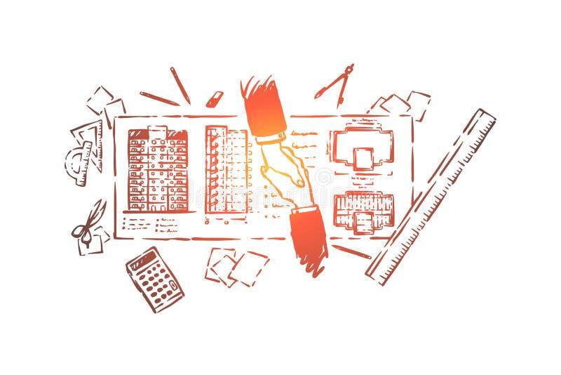 Affär för husplanläggning, byggande, tekniker- och klienthandskakning, ritning och brevpapperobjekt royaltyfri illustrationer