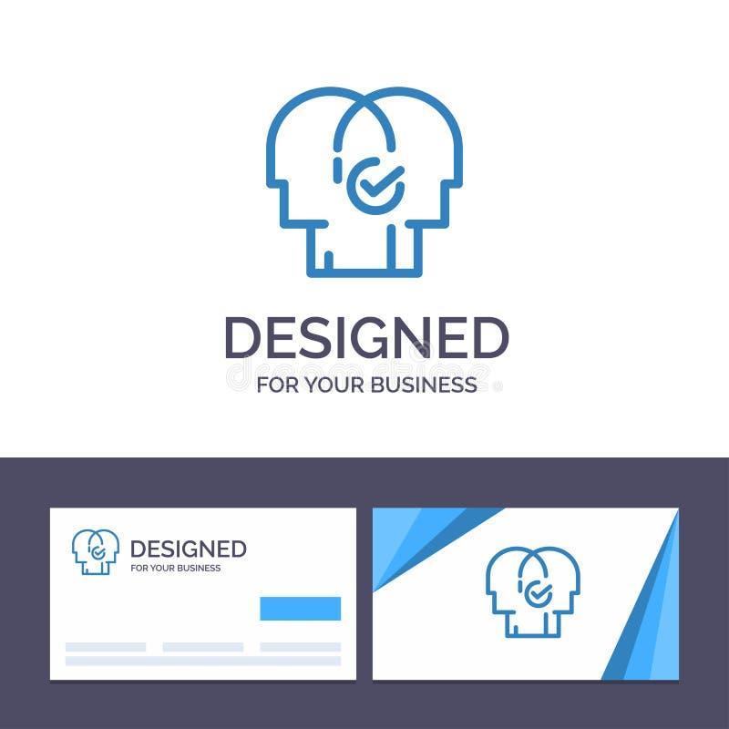 Affär för idérik mall för affärskort och logo, mänskligt som är modern, resurser, valvektorillustration stock illustrationer