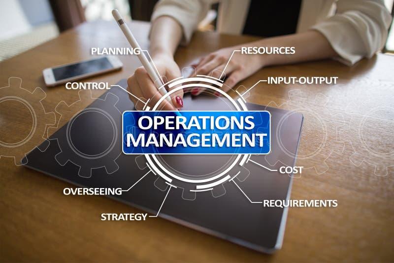 Affär för operationledning och teknologibegrepp på den faktiska skärmen arkivfoto