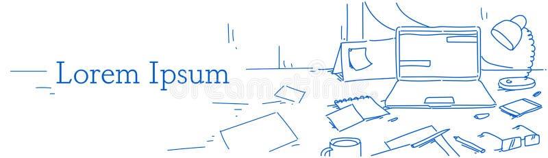 Affär för skrivbord för idérik för kontorshemarbetsplats för bärbar dator för lampa för smartphone för kalender för exponeringsgl vektor illustrationer